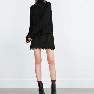 Zara Black Lace Trim Mini Pencil Skirt Size Small